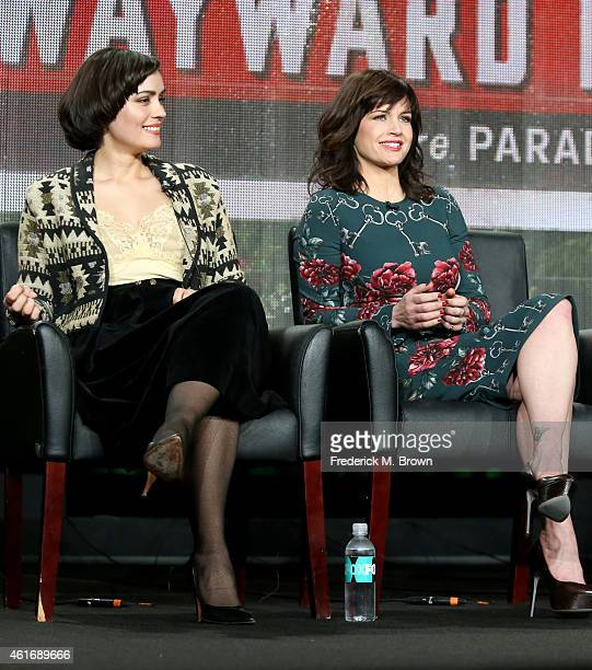 Actresses Shannyn Sossamon and Carla Gugino speak onstage during the 'Wayward Pines' panel discussion at the FOX portion of the 2015 Winter TCA Tour...