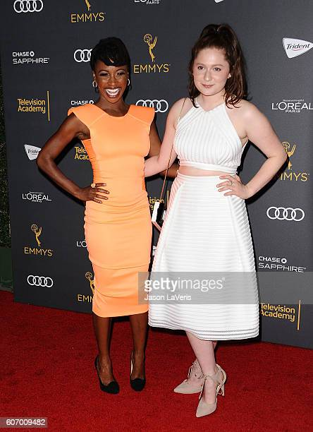 Actresses Shanola Hampton and Emma Kenney attend the Television Academy reception for Emmy nominated performers at Pacific Design Center on September...