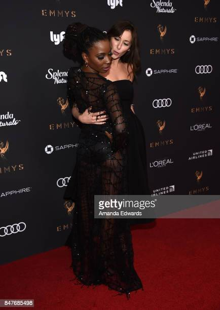 Actresses Shanola Hampton and Isidora Goreshter arrive at the Television Academy's Performers Nominee Reception at the Wallis Annenberg Center for...