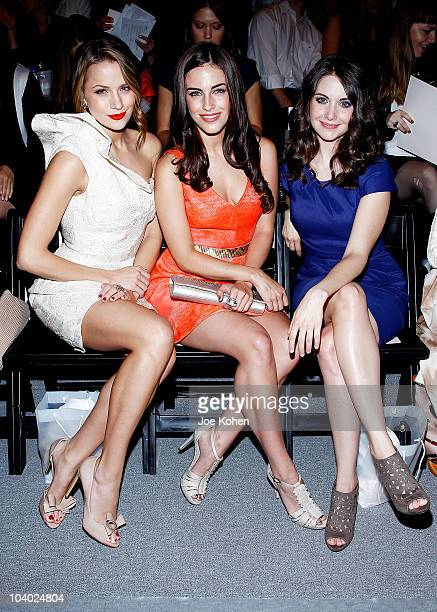 Actresses Shantel VanSanten Jessica Lowndes and Alison Brie attend the Lela Rose Spring 2011 fashion show during MercedesBenz Fashion Week at The...