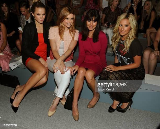 Actresses Shantel VanSanten, Joanna Garcia, Jamie-Lynn Sigler, Ashley Tisdale attend the Luca Luca Spring 2012 fashion show during Mercedes-Benz...