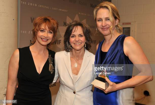 Actresses Sharon Lawrence and Sally Field and honoree Cynthia Pusheck backstage at the 2010 Crystal Lucy Awards A New Era at Hyatt Regency Century...