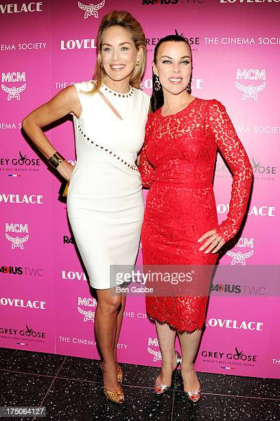 """Actresses Sharon Stone and Debi Mazar attend The Cinema Society and MCM with Grey Goose host a screening of Radius TWC's """"Lovelace"""" at The Museum of..."""