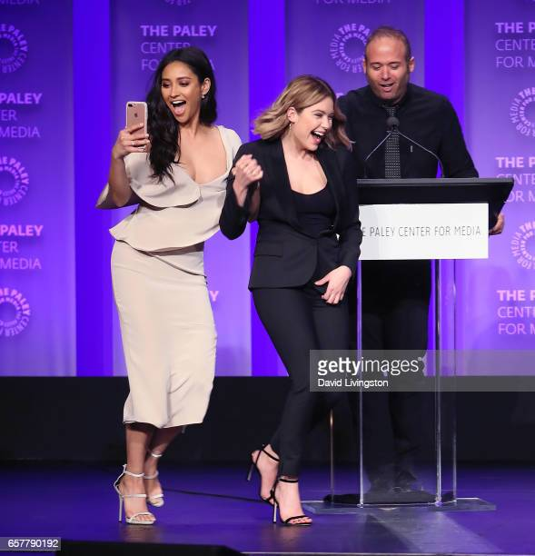 Actresses Shay Mitchell and Ashley Benson and moderator Jarett Wieselman appear on stage at The Paley Center for Media's 34th Annual PaleyFest Los...