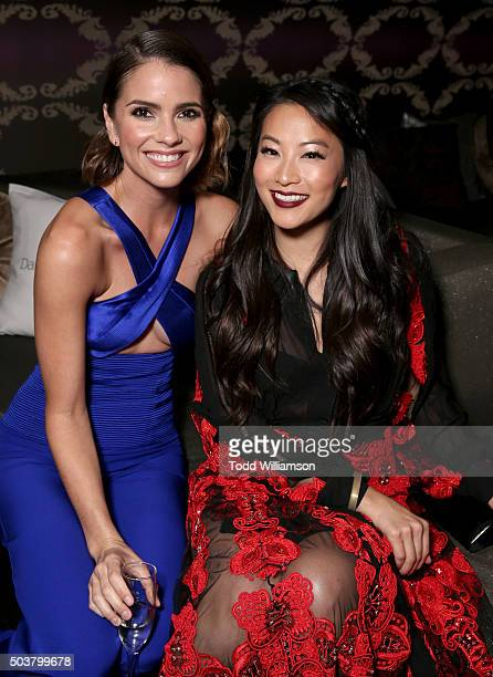 Actresses Shelley Hennig and Arden Cho attend DailyMail's after party for 2016 People's Choice Awards at Club Nokia on January 6 2016 in Los Angeles...