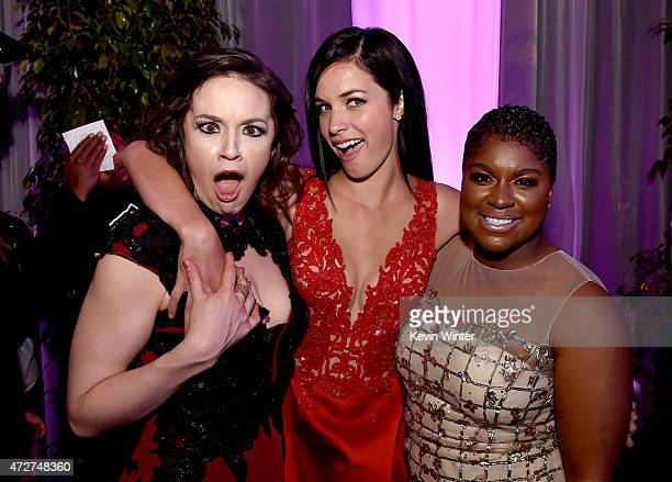 Actresses Shelley Regner Alexis Knapp and Ester Dean pose at the after party for the premiere of Universal Pictures' Pitch Perfect 2 at the Nokia...