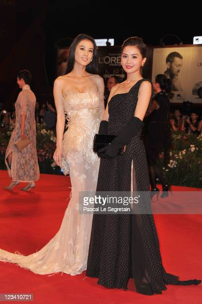 Actresses Shengyi Huang and Charlene Choi attend the The Sorcerer And The White Snake premiere during the 68th Venice Film Festival at Palazzo del...