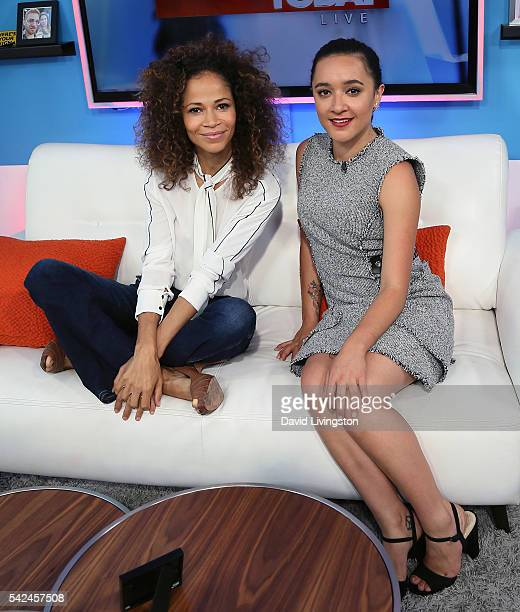 Actresses Sherri Saum and Keisha CastleHughes visit Hollywood Today Live at W Hollywood on June 23 2016 in Hollywood California