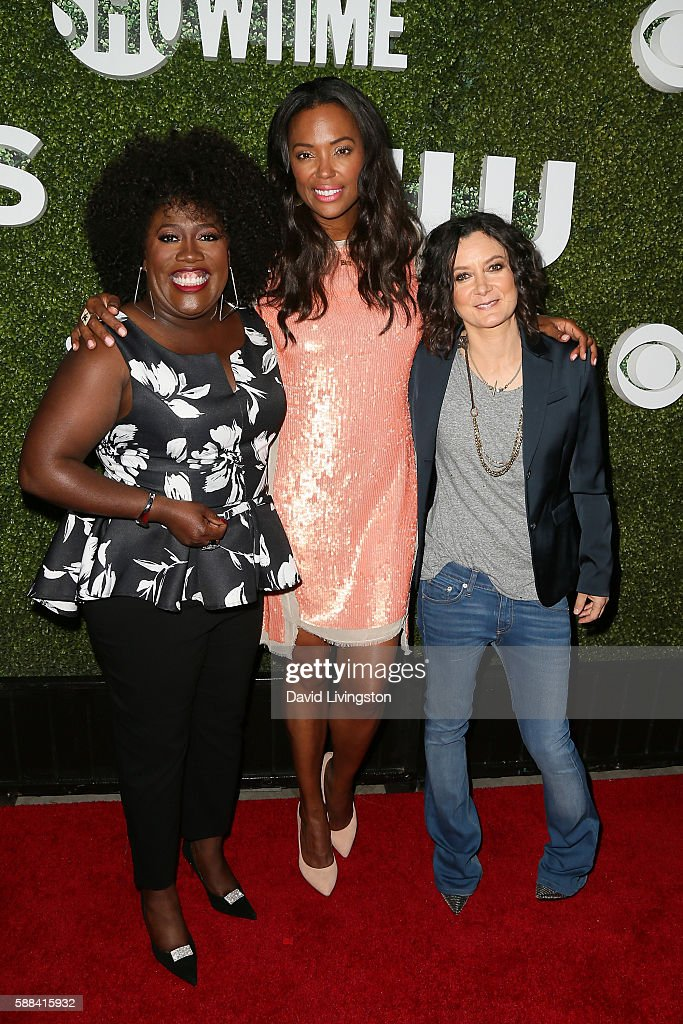 Actresses Sheryl Underwood, Aisha Tyler and Sara Gilbert arrive at the CBS, CW, Showtime Summer TCA Party at the Pacific Design Center on August 10, 2016 in West Hollywood, California.