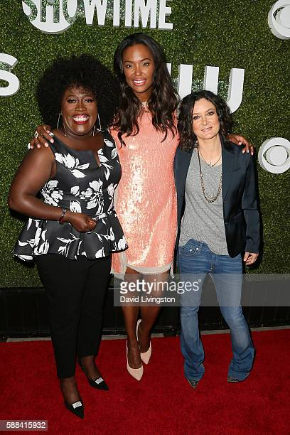 Actresses Sheryl Underwood Aisha Tyler and Sara Gilbert arrive at the CBS CW Showtime Summer TCA Party at the Pacific Design Center on August 10 2016...