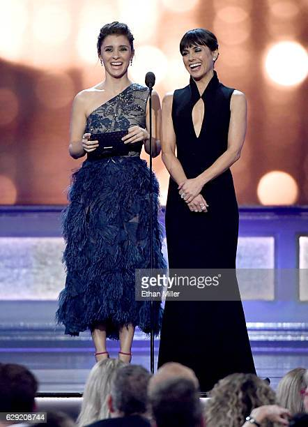Actresses Shiri Appleby and Constance Zimmer speak onstage during the 22nd Annual Critics' Choice Awards at Barker Hangar on December 11 2016 in...