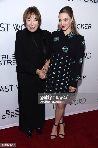 Actresses Shirley MacLaine and Amanda Seyfried arrive at the premiere of Bleecker Street Media's The Last Word at ArcLight Hollywood on March 1 2017...