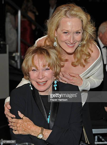 Actresses Shirley MacLaine and Meryl Streep in the audience during the 38th AFI Life Achievement Award honoring Mike Nichols held at Sony Pictures...