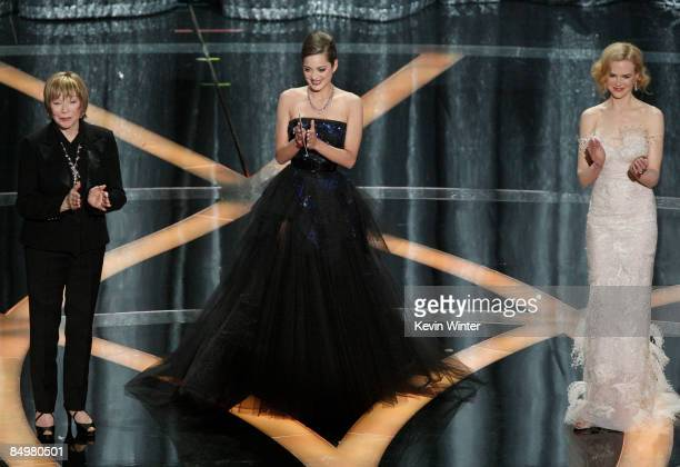 Actresses Shirley MacLaine Marion Cotillard and Nicole Kidman speak during the 81st Annual Academy Awards held at Kodak Theatre on February 22 2009...