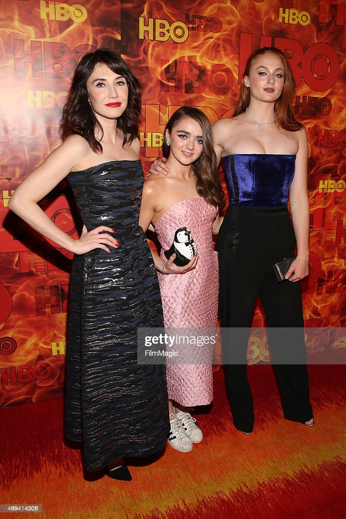 Actresses Sibel Kekilli, Maisie Williams, and Sophie Turner attend HBO's Official 2015 Emmy After Party at The Plaza at the Pacific Design Center on September 20, 2015 in Los Angeles, California.