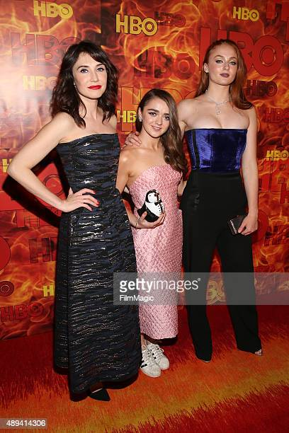 Actresses Sibel Kekilli Maisie Williams and Sophie Turner attend HBO's Official 2015 Emmy After Party at The Plaza at the Pacific Design Center on...