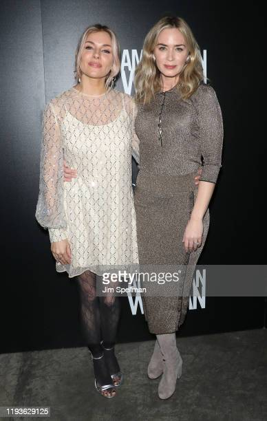 "Actresses Sienna Miller and Emily Blunt attend the special screening of American Woman"" hosted by Anna Wintour with Gucci and The Cinema Society at..."