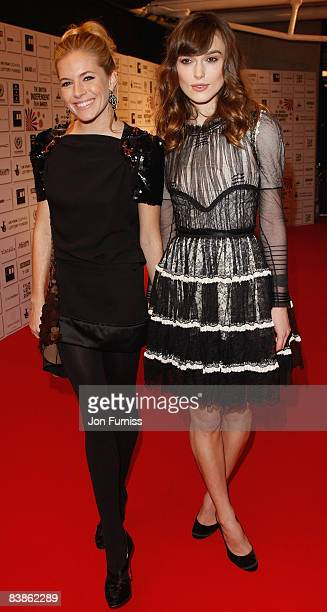 Actresses Sienna Miller and Keira Knightley attend the British Independent Film Awards at the Old Billingsgate Market on November 30 2008 in London...