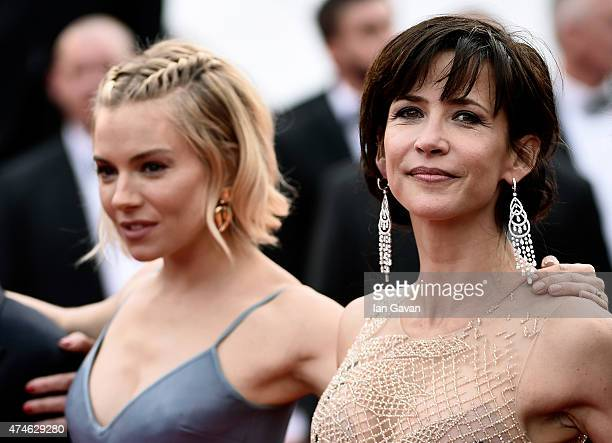 Actresses Sienna Miller and Sophie Marceau attend the closing ceremony and Premiere of 'La Glace Et Le Ciel' during the 68th annual Cannes Film...