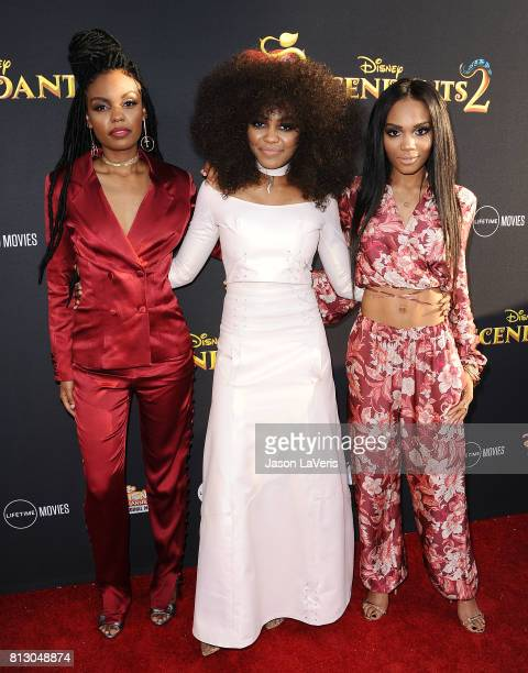 "Actresses Sierra McClain, China Anne McClain and Lauryn McClain attend the premiere of ""Descendants 2"" at The Cinerama Dome on July 11, 2017 in Los..."