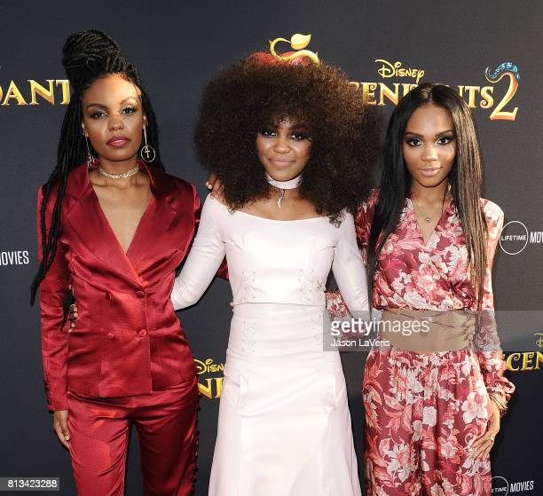 Actresses Sierra McClain China Anne McClain and Lauryn McClain attend the premiere of Descendants 2 at The Cinerama Dome on July 11 2017 in Los...