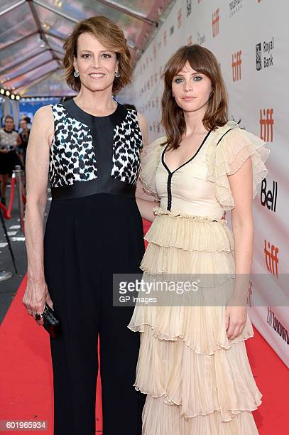 Actresses Sigourney Weaver and Felicity Jones attend the A Monster Calls premiere during the 2016 Toronto International Film Festival at Roy Thomson...