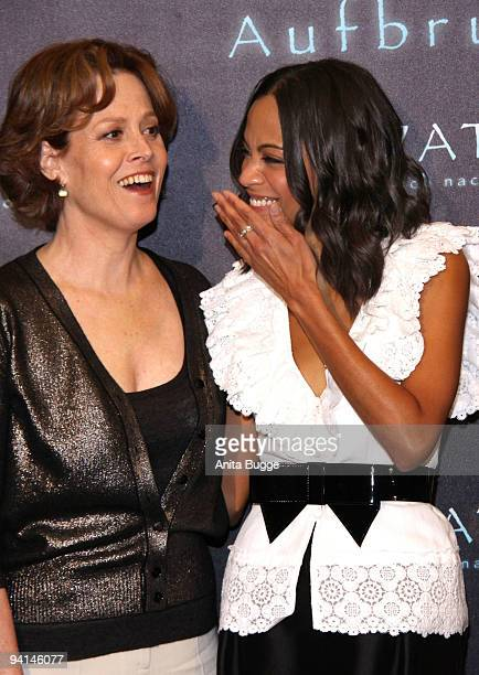Actresses Sigourney Weaver and Zoe Saldana attend a photocall to promote the film 'Avatar' at Hotel de Rome on December 8 2009 in Berlin Germany