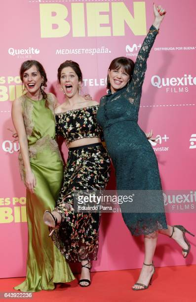 Actresses Silvia Alonso Georgina Amoros and Andrea Ros attend the 'Es por tu bien' premiere at Capitol cinema on February 22 2017 in Madrid Spain