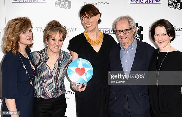 """Actresses Siobhan Finneran, Lorraine Ashbourne, director Clio Barnard, and Tracy O'Riordan with their Best Film award for """"The Selfish Giant"""" with..."""