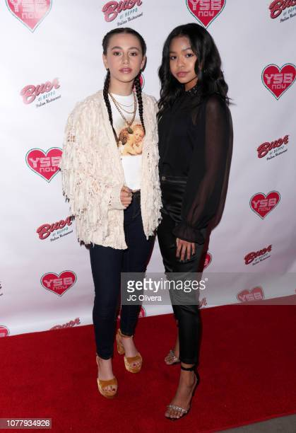 Actresses Sky Katz and Navia Robinson attend YSBNow Holiday Dinner and Toy Drive at Buca di Beppo CityWalk on December 05 2018 in Universal City...