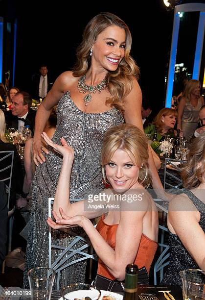 Actresses Sofa Vergara and Julie Bowen attend the 20th Annual Screen Actors Guild Awards at The Shrine Auditorium on January 18 2014 in Los Angeles...