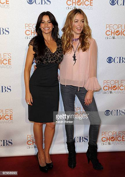 Actresses Sofia Vergara and Cat Deeley arrive at the People's Choice Awards 2010 Nomination Announcement Press Conference held at the SLS Hotel on...