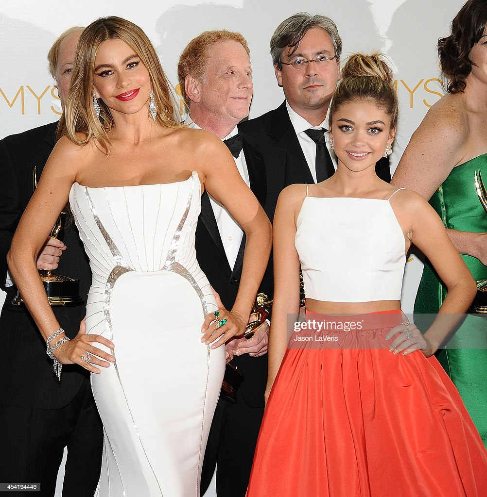Actresses Sofia Vergara and Sarah Hyland pose in the press room at the 66th annual Primetime Emmy Awards at Nokia Theatre L.A. Live on August 25, 2014 in Los Angeles, California.