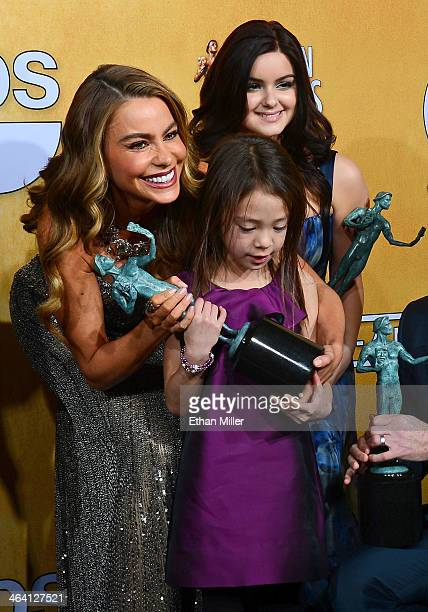 Actresses Sofia Vergara Aubrey AndersonEmmons and Ariel Winter winners of the Outstanding Performance by an Ensemble in a Comedy Series for 'Modern...