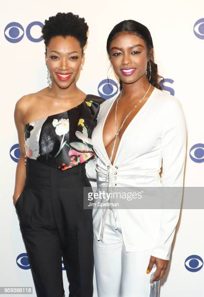 Actresses Sonequa MartinGreen and Ebonee Noel attend the 2018 CBS Upfront at The Plaza Hotel on May 16 2018 in New York City