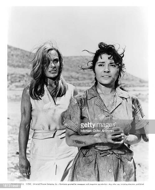 Actresses Sonia Zoidou and Shirley Eaton on set of the Universal Pictures movie The Naked Brigade in 1965