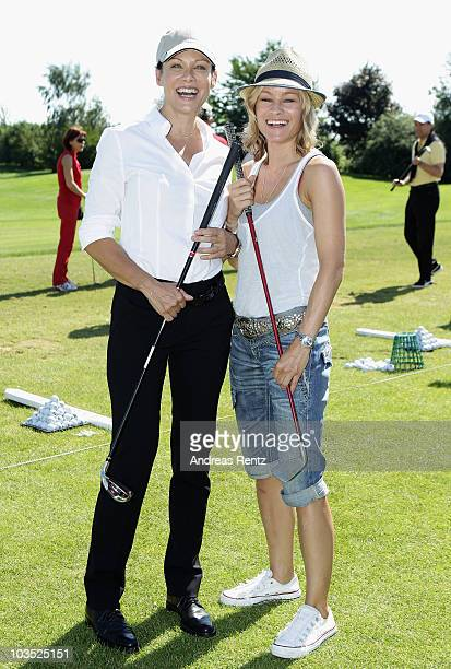 Actresses Sonja Kirchberger and Dorkas Kiefer attend the BMW Adlon Golf Cup 2010 at Golf and Country Club Seddiner See on August 21, 2010 in...