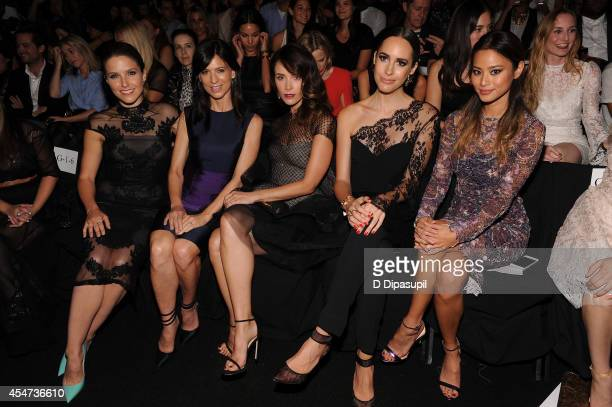 Actresses Sophia Bush, Perry Reeves, Abigail Spencer, Louise Roe and Jamie Chung attend the Monique Lhuillier fashion show during Mercedes-Benz...