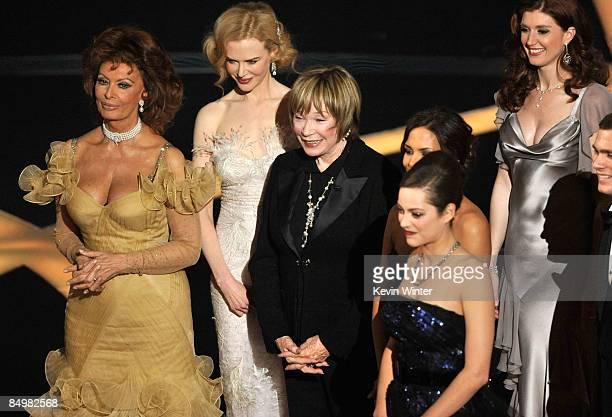 Actresses Sophia Loren Nicole Kidman Shirley MacLaine and Marion Cotillard presenters during the 81st Annual Academy Awards held at Kodak Theatre on...