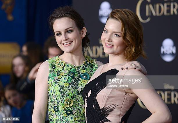 Actresses Sophie McShera and Holliday Grainger attend the premiere of Cinderella at the El Capitan Theatre on March 1 2015 in Hollywood California