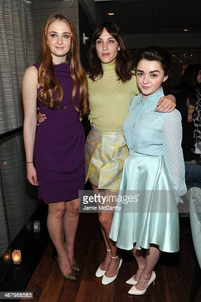 Actresses Sophie Turner Alexa Chung and Maisie Williams attend Christian Siriano private dinner and after party during MercedesBenz Fashion Week Fall...