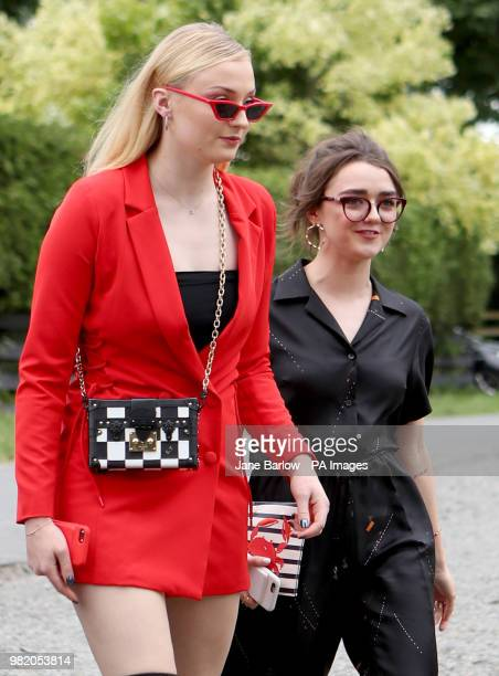 Actresses Sophie Turner and Maisie Williams arrive at Rayne Church Kirkton of Rayne in Aberdeenshire for the wedding ceremony of their Game Of...