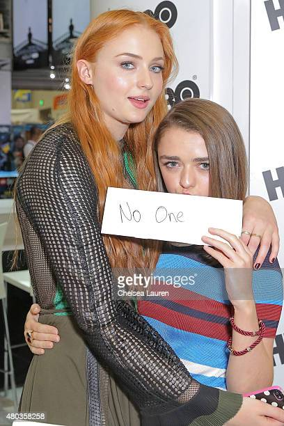 Actresses Sophie Turner and Maisie Williams attend a fan signing for 'Game of Thrones' during Comic-Con International on July 10, 2015 in San Diego,...