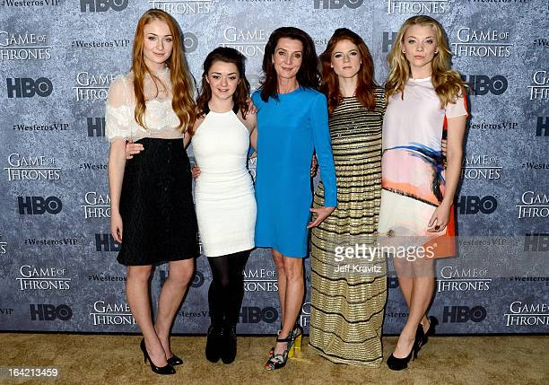 Actresses Sophie Turner Maisie Williams Michelle Fairley Rose Leslie and Natalie Dormer attend HBO's Game Of Thrones Season 3 San Francisco Premiere...