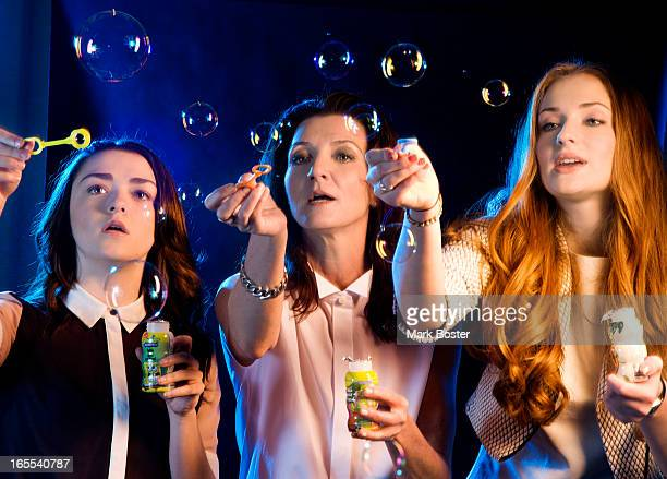 Actresses Sophie Turner Michelle Fairleyand Maisie William from the TV series Game of Thrones are photographed for Los Angeles Times on March 18 2013...