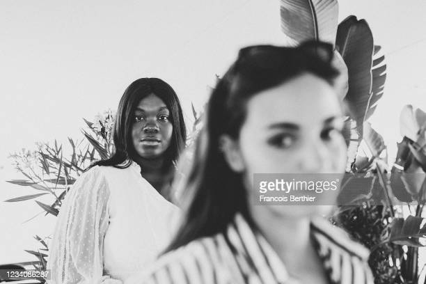 """Actresses Souheila Yacoub and Deborah Lukumuena from the film """"Entre Les Vagues"""" pose for a portrait during the 74th Cannes International Film..."""