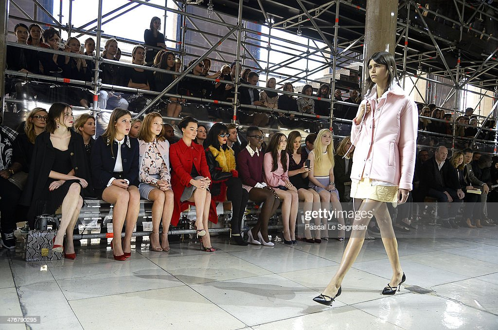 Actresses Stacy Martin, Adele Exarchopoulos, Lea Seydoux, Margot Robbie, singer Rihanna, actresses Lupita Nyong'o, Elizabeth Olsen, Bella Heathcote and Elle Fanning attend the Miu Miu show as part of the Paris Fashion Week Womenswear Fall/Winter 2014-2015 on March 5, 2014 in Paris, France.