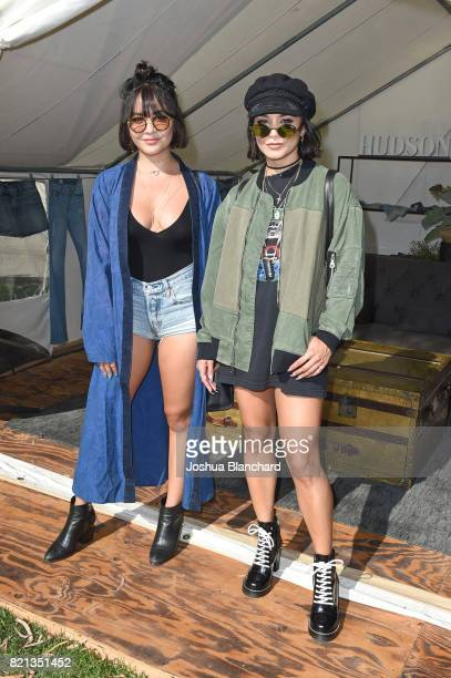 Actresses Stella Hudgens and Vanessa Hudgens attend the Hudson Jeans FYF Fest Style Lounge at Exposition Park on July 23 2017 in Los Angeles...