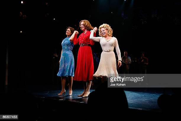 Actresses Stephanie J Block Allison Janney and Megan Hilty on stage during curtain call at the opening of 9 to 5 The Musical on Broadway at the...