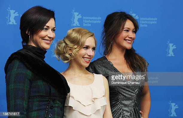 Actresses Stephanie Paul Julia Dietze and Peta Sergeant attend the Iron Sky Photocall during day three of the 62nd Berlin International Film Festival...